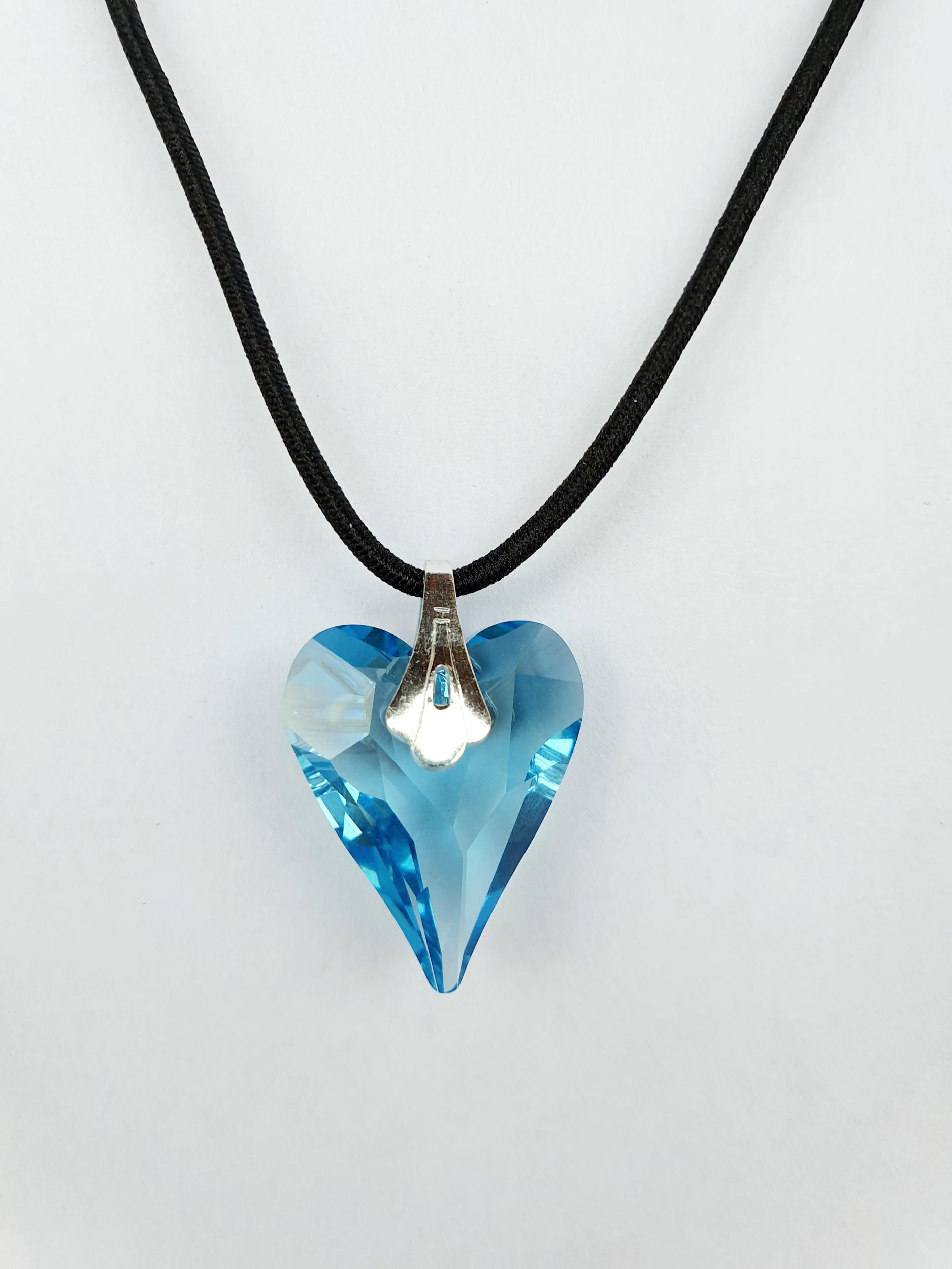 Pendentif Coeur en Cristal Swarovski aquamarine