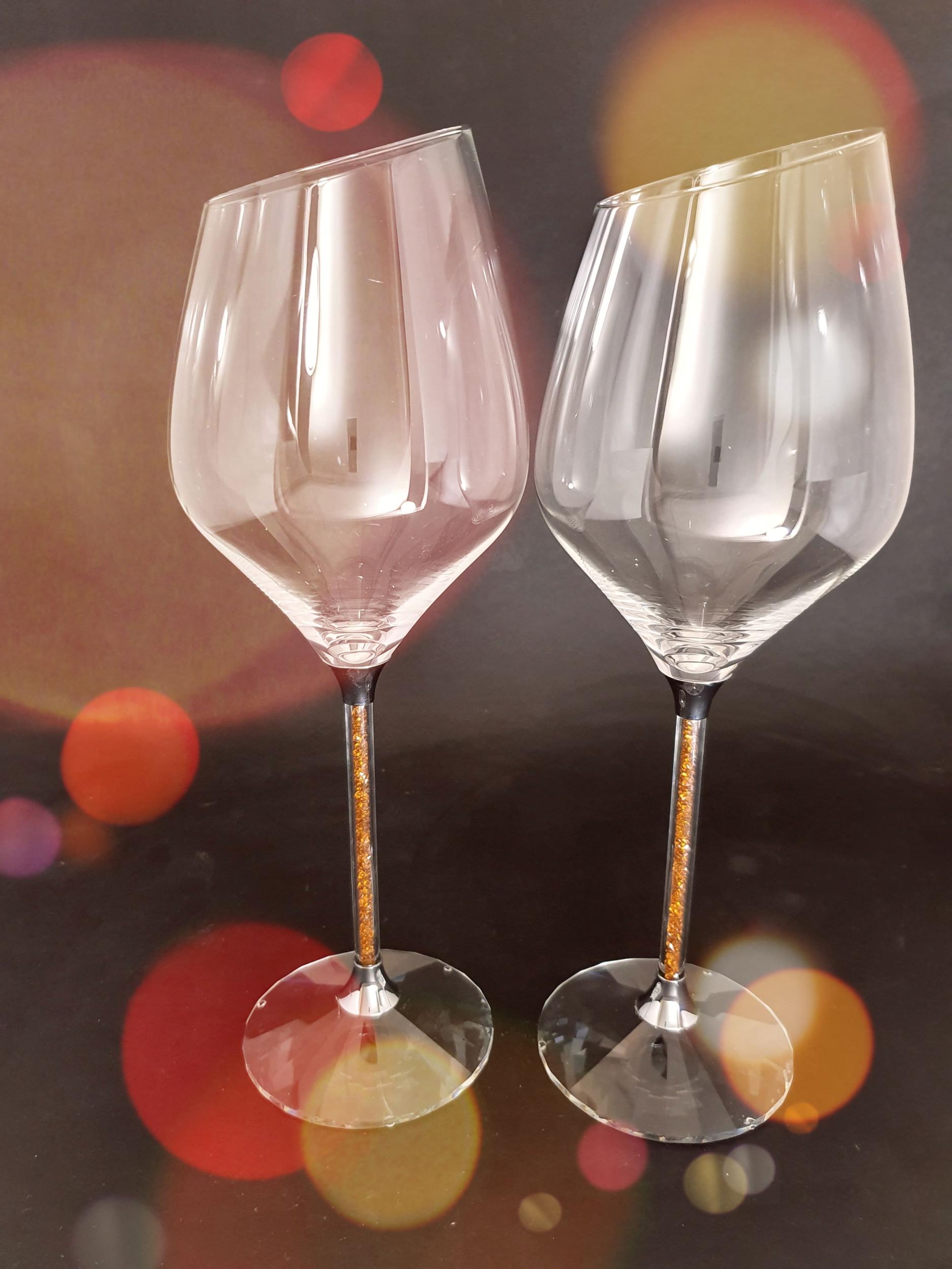 2 Verres à Vin cristal et cristaux Swarovski