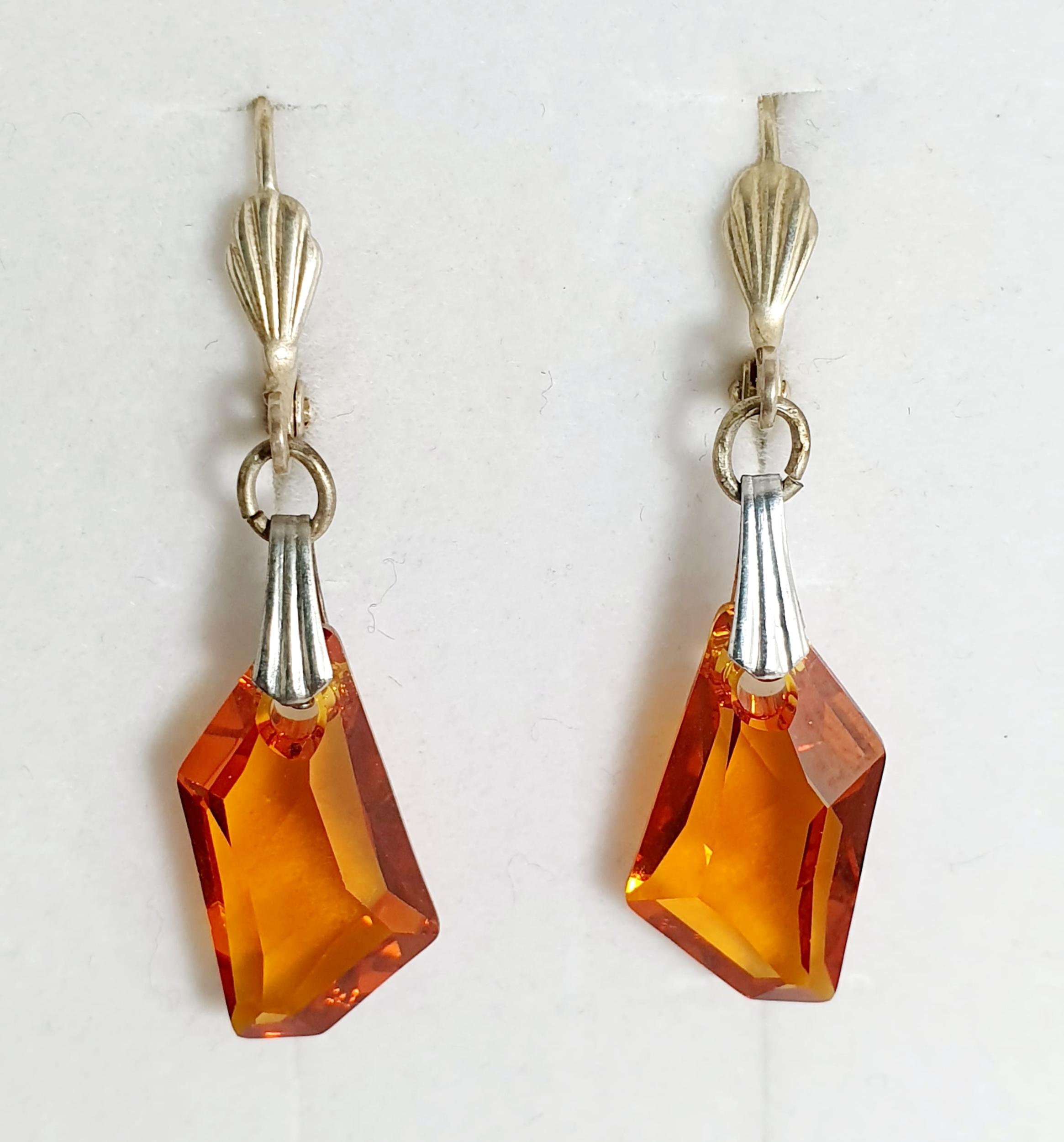 Boucles d\'oreilles géométrique en cristal Swarovski ambre