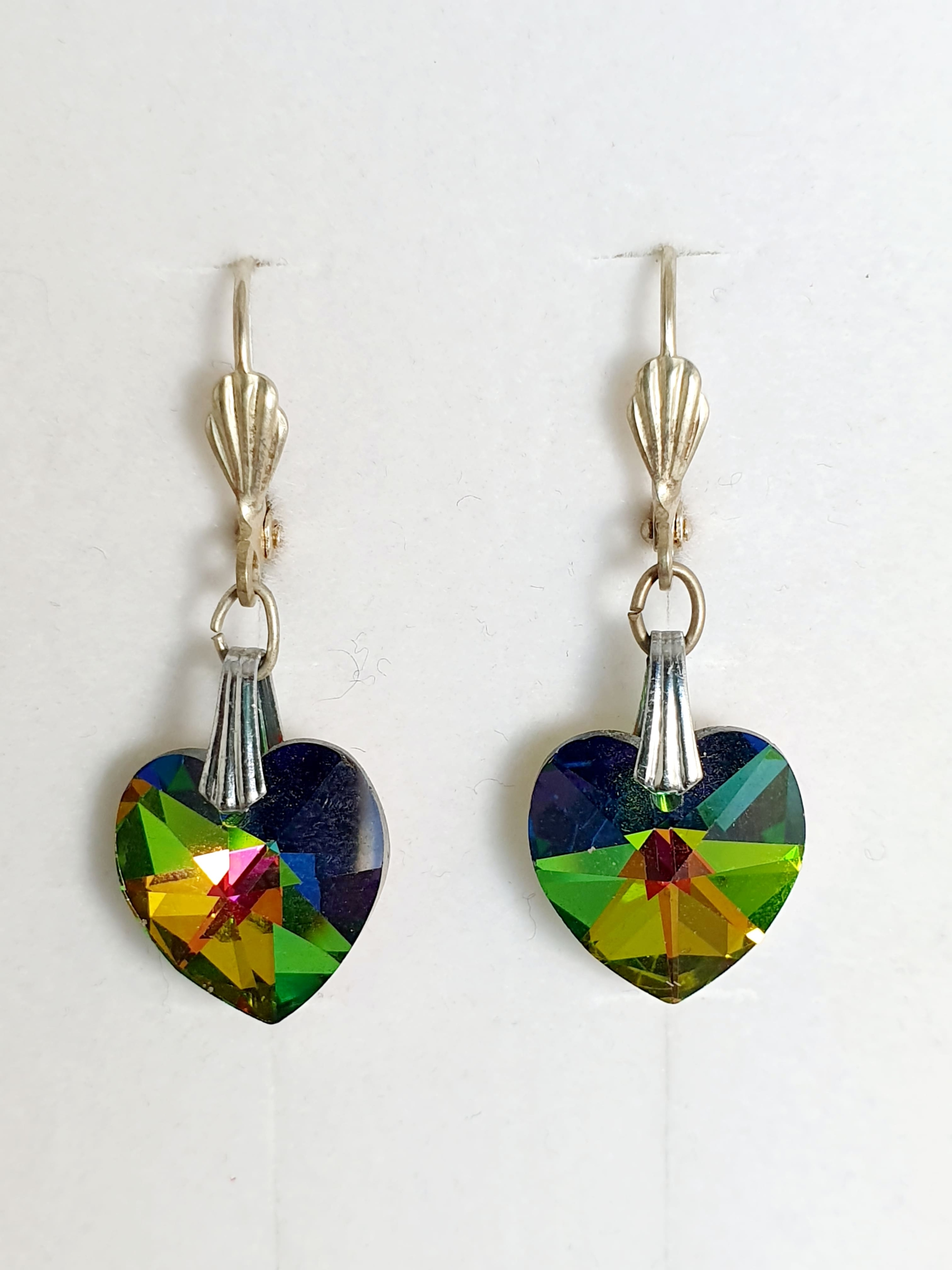 Boucles d\'oreilles en cristal Swarovski vert vitrail