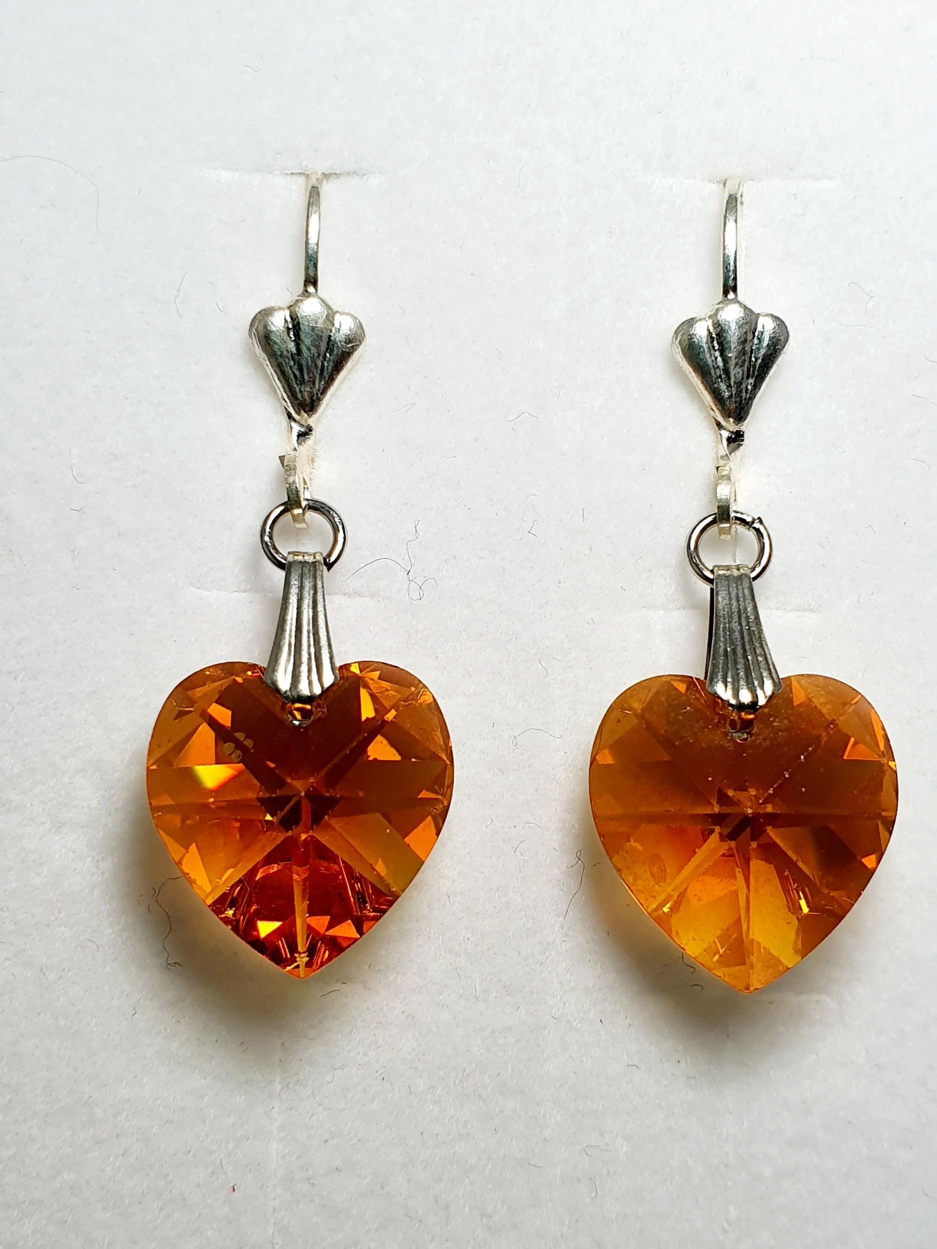 Boucles d\'oreilles coeur en cristal Swarovski ambre