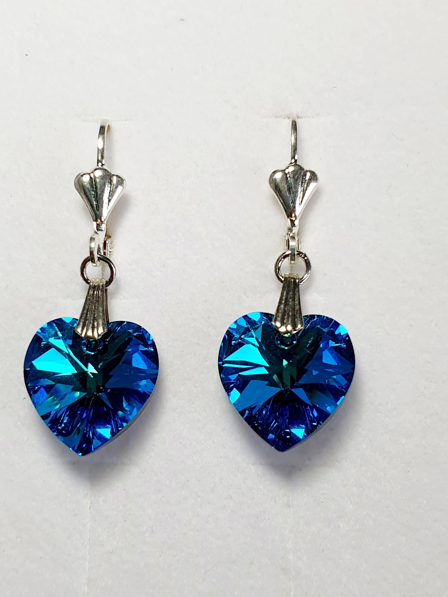 Boucles d\'oreilles en cristal Swarovski bleu zircon