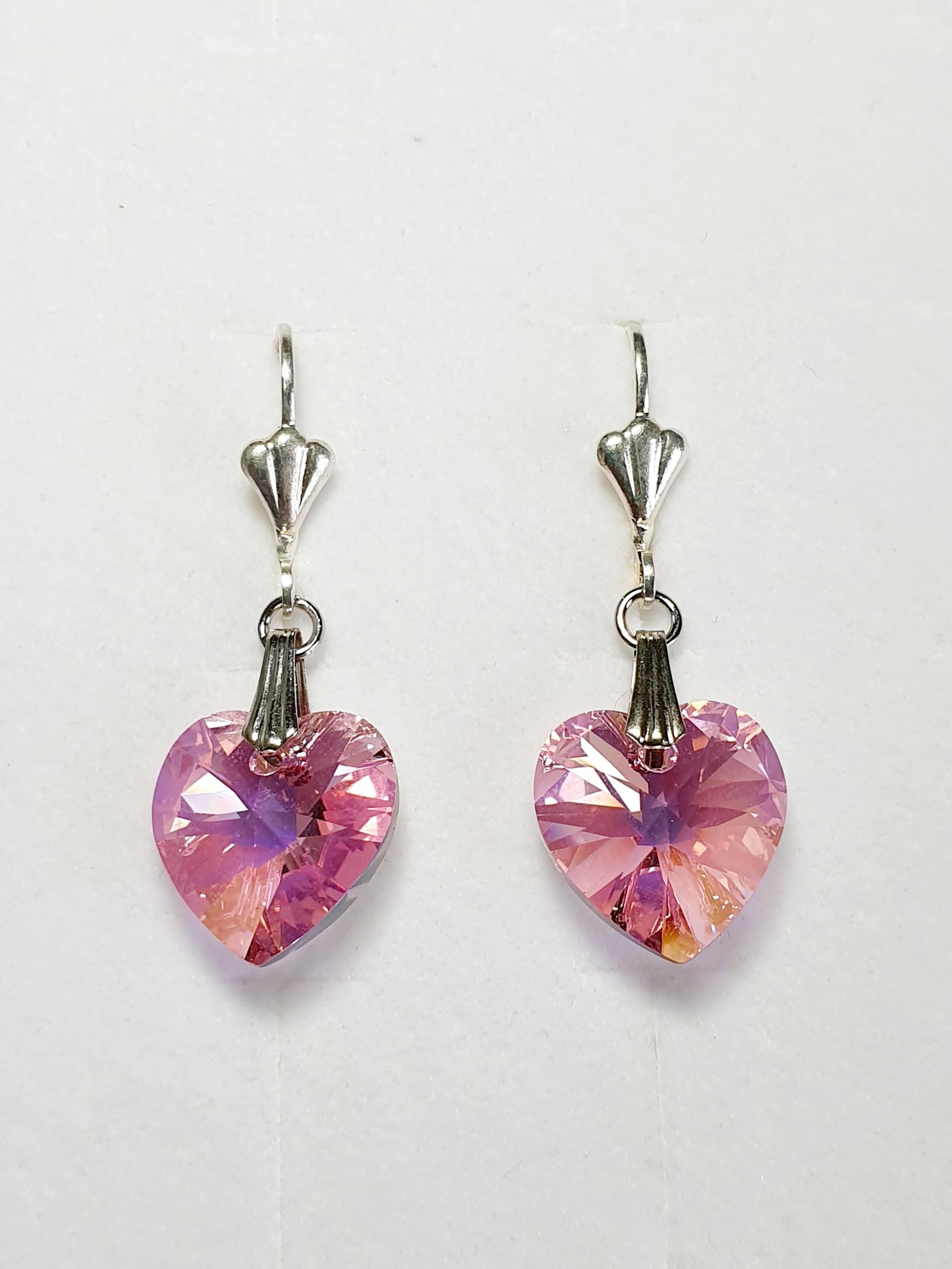 Boucles d\'oreilles en cristal Swarovski rose