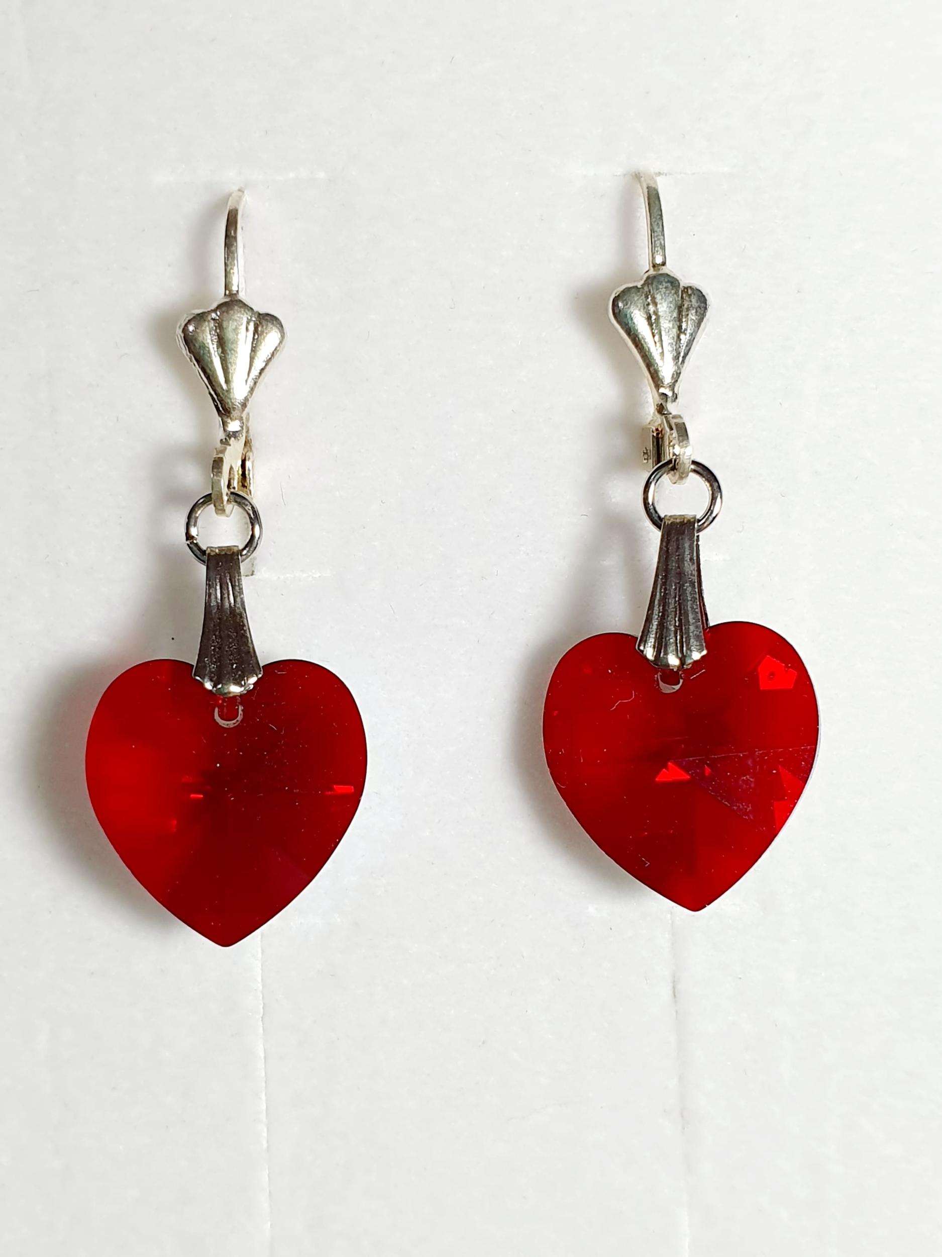 Boucles d\'Oreilles Coeur en cristal Swarovski rouge