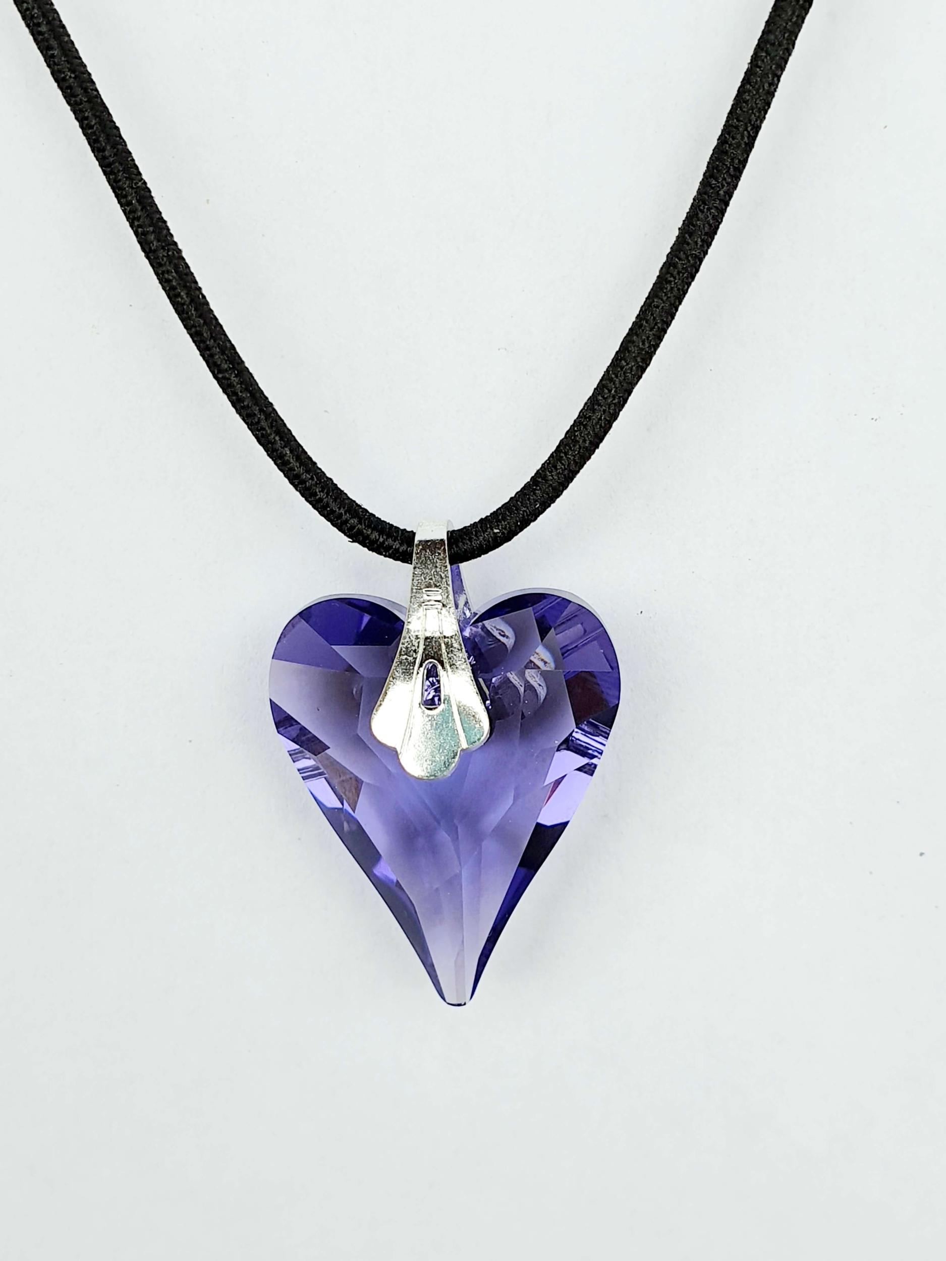 Pendentif coeur en cristal Swarovski améthyste