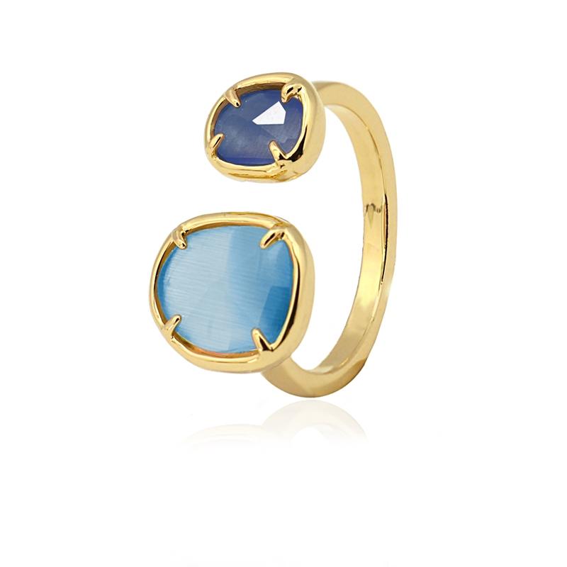 Bague avec pierre oeil de chat bleu