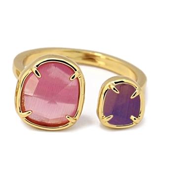 Bague avec pierre oeil de chat rose/violet