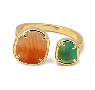 Bague avec pierre oeil de chat orange/vert