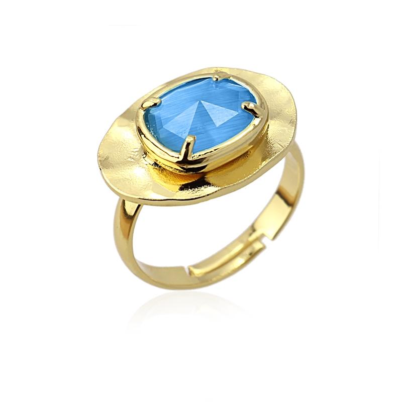 Bague ovale avec pierre oeil de chat bleu