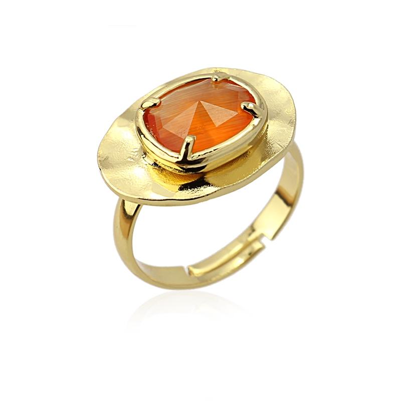 Bague ovale avec pierre oeil de chat orange