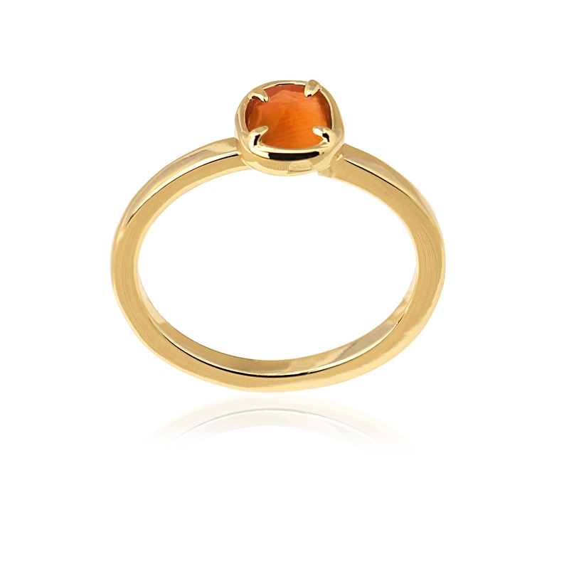 Bague simple avec pierre oeil de chat orange