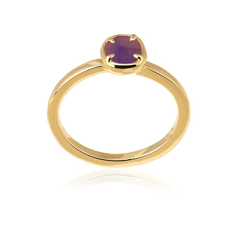 Bague simple avec pierre oeil de chat violet