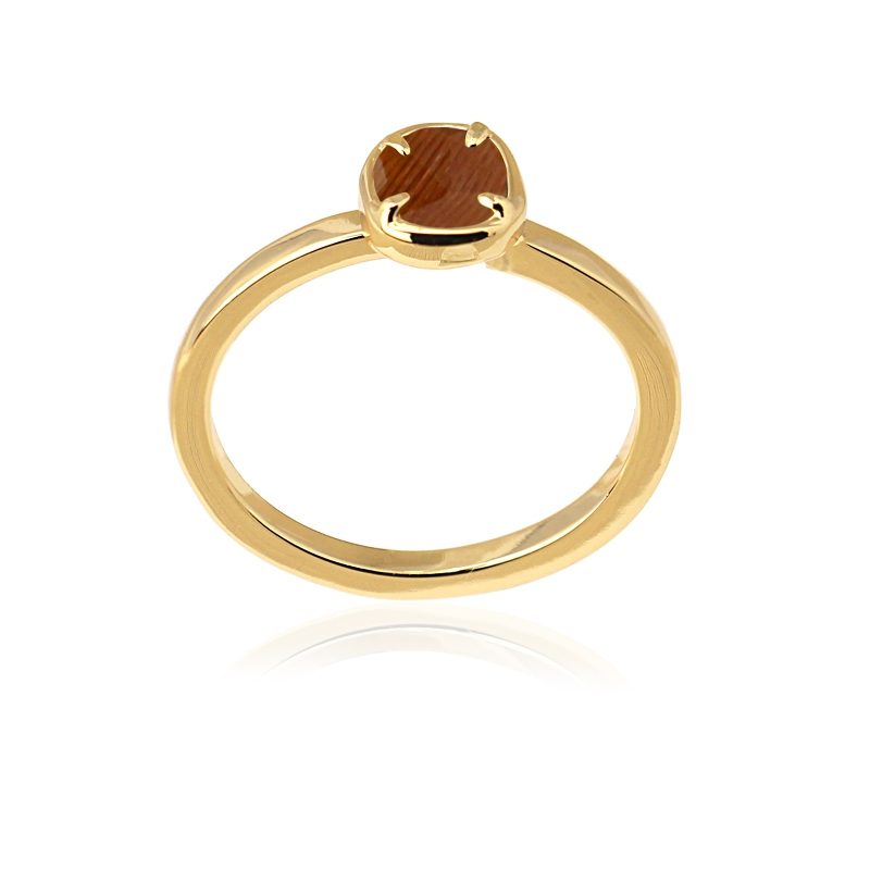Bague simple avec pierre oeil de chat marron