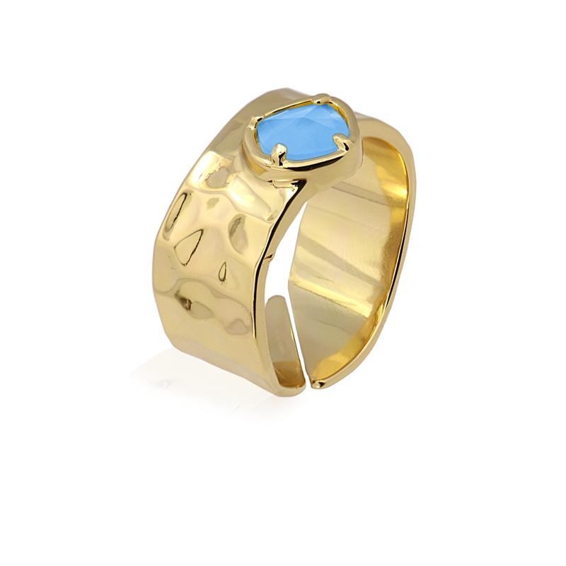Bague anneau avec pierre oeil de chat bleu