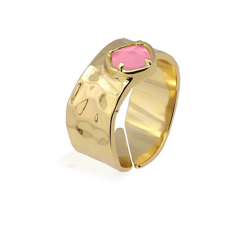 Bague anneau avec pierre oeil de chat rose