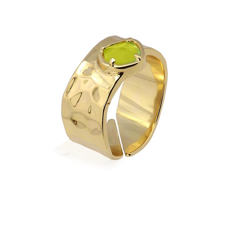 Bague anneau avec pierre de chat vert