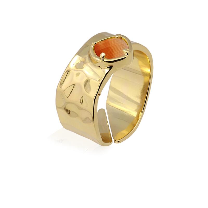 Bague Anneau avec pierre oeil de chat orange