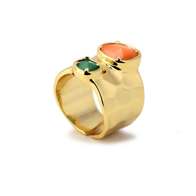 Bague anneau large avec pierres oeil de chat orange/vert