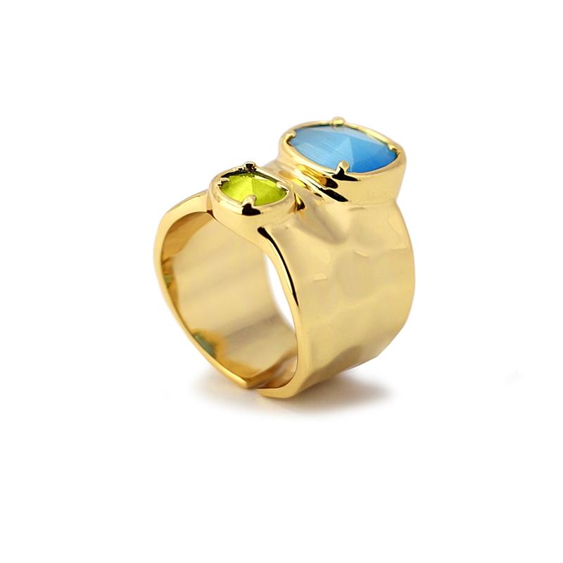 Bague anneau large avec pierres oeil de chat bleu/vert
