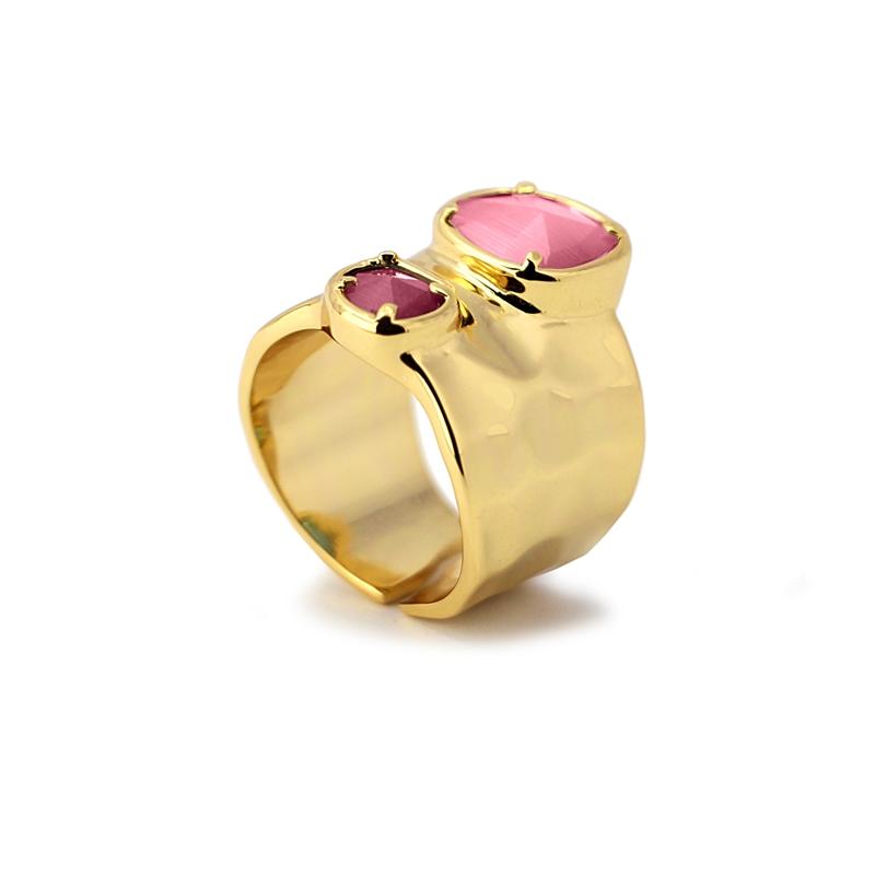 Bague anneau large avec pierres oeil de chat rose/violet