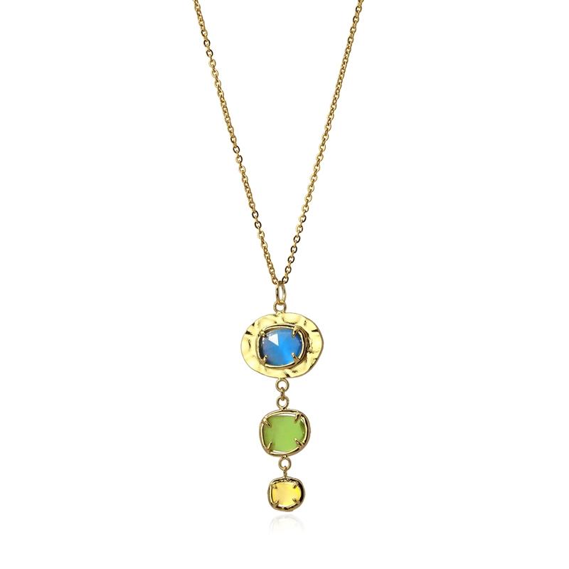 collier avec pierres naturelles oeil de chat bleu/vert/jaune