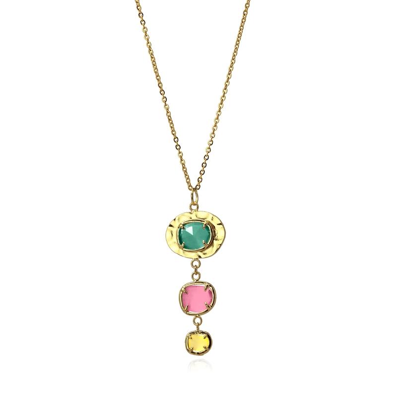 Collier avec pierres naturelles oeil de chat vert/rose/jaune