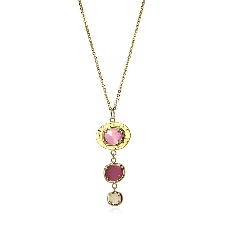 Collier avec pierres naturelles oeil de chat rose/violet/blanc