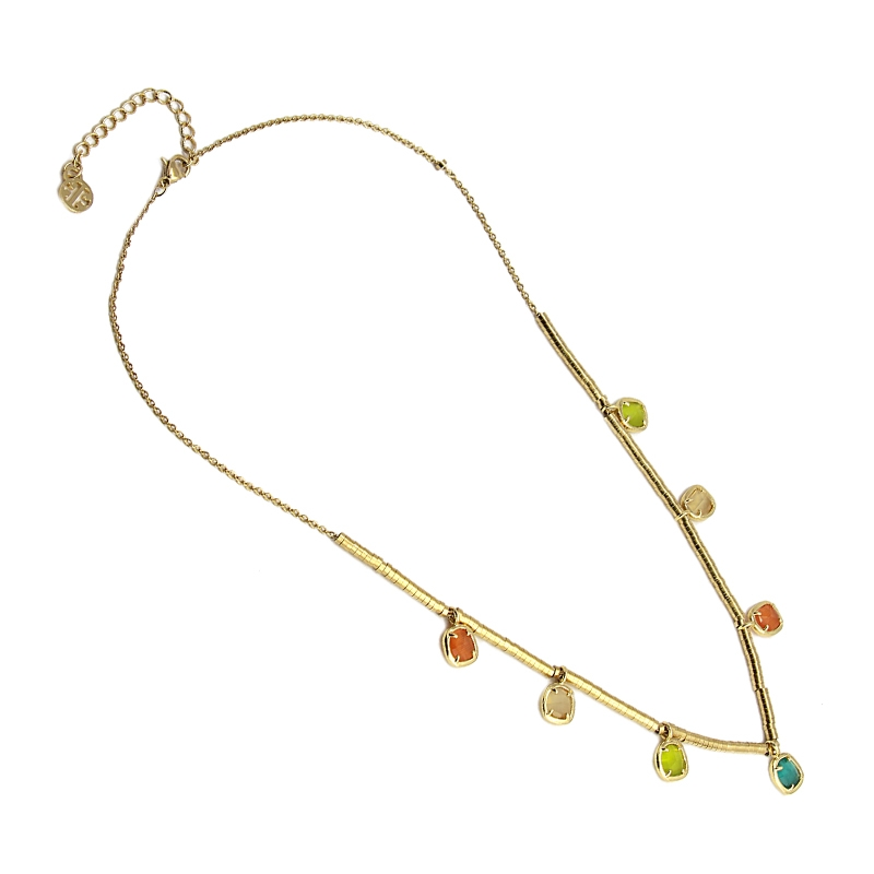 Collier avec pierres naturelles oeil de chat multicolore