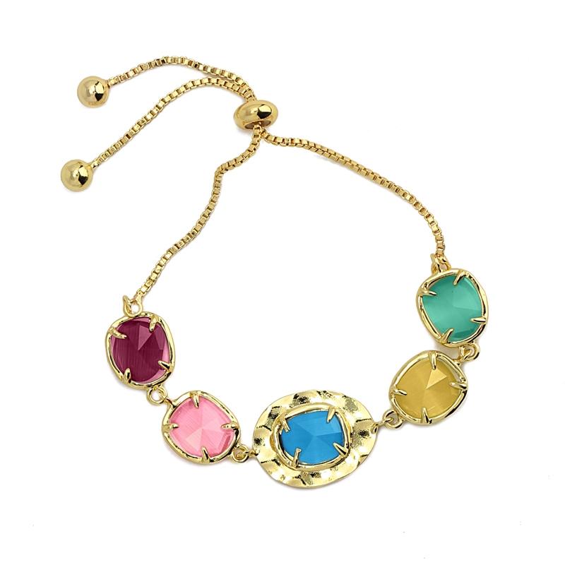 Bracelet avec pierres naturelles oeil de chat multicolore