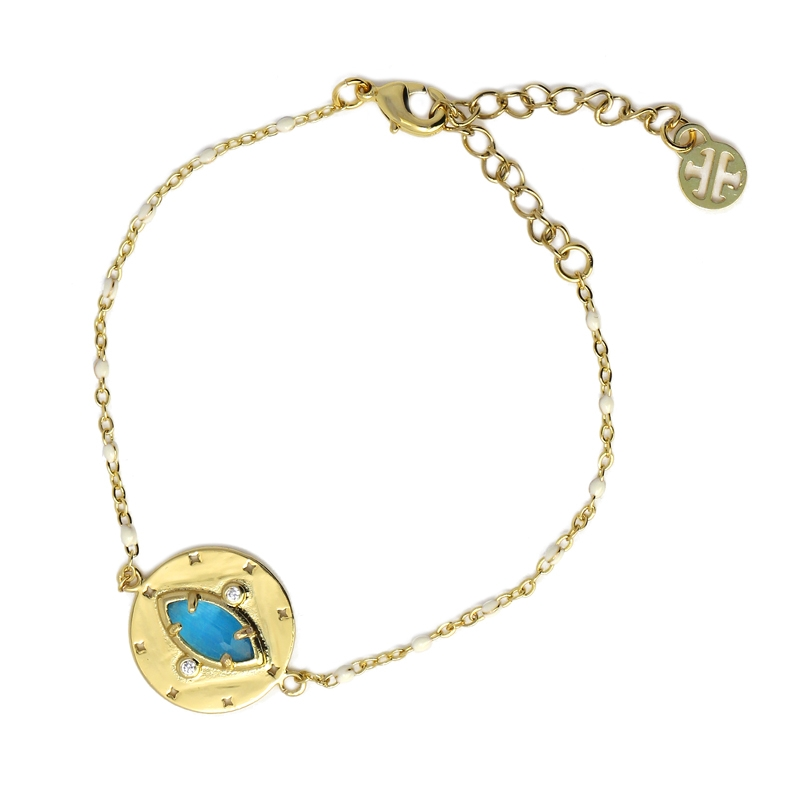 Bracelet avec pierre naturelle oeil de chat turquoise