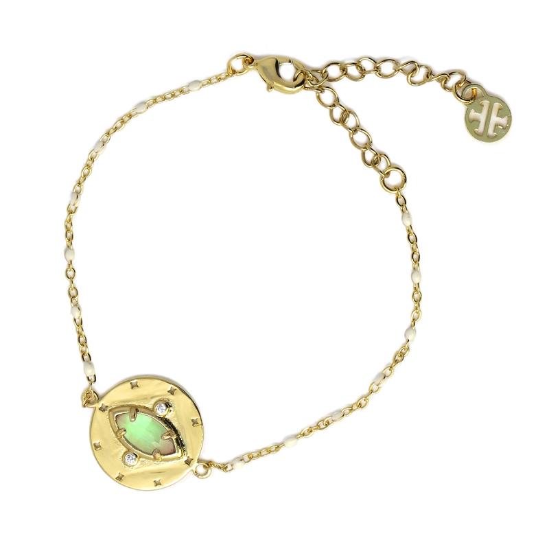 Bracelet avec pierre naturelle oeil de chat bleu clair