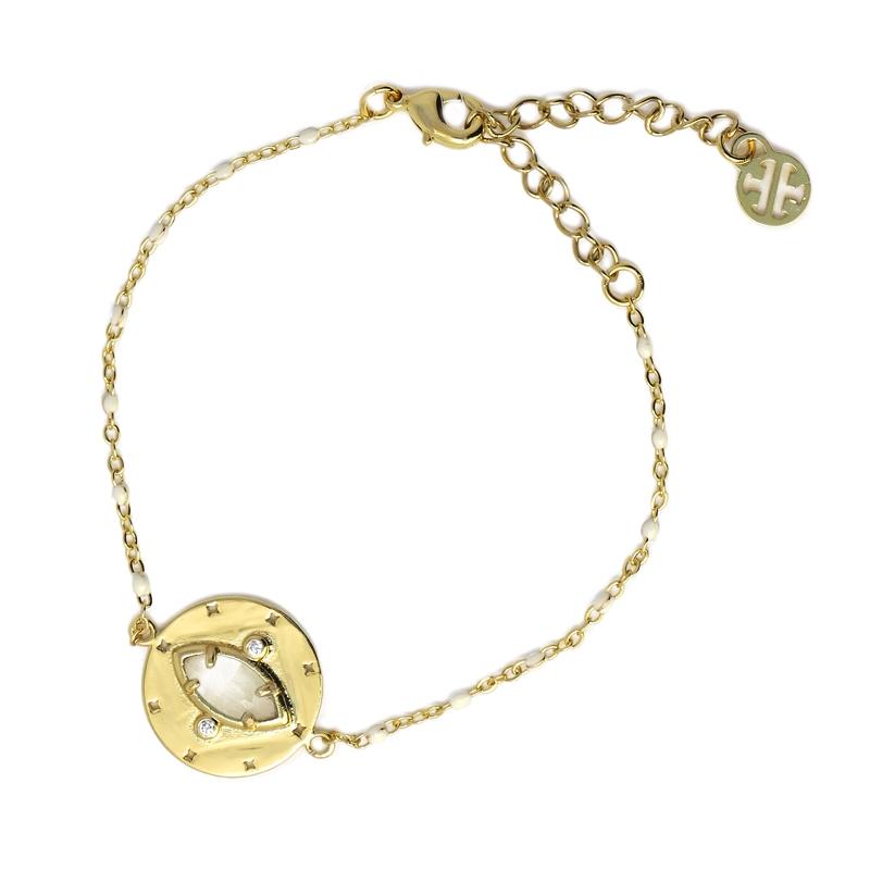 Bracelet avec pierre naturelle oeil de chat blanc