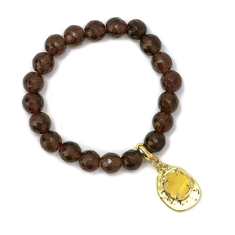 Bracelet oeil de chat café/ jaune
