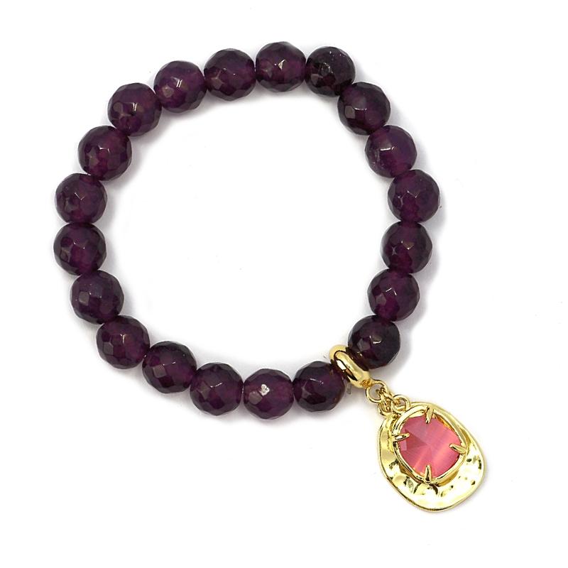 bracelet  oeil de chat grenat/rose