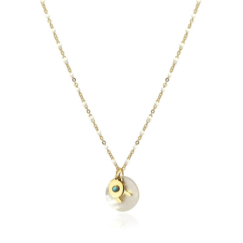 Collier avec pendentif rond en coquillage et turquoise