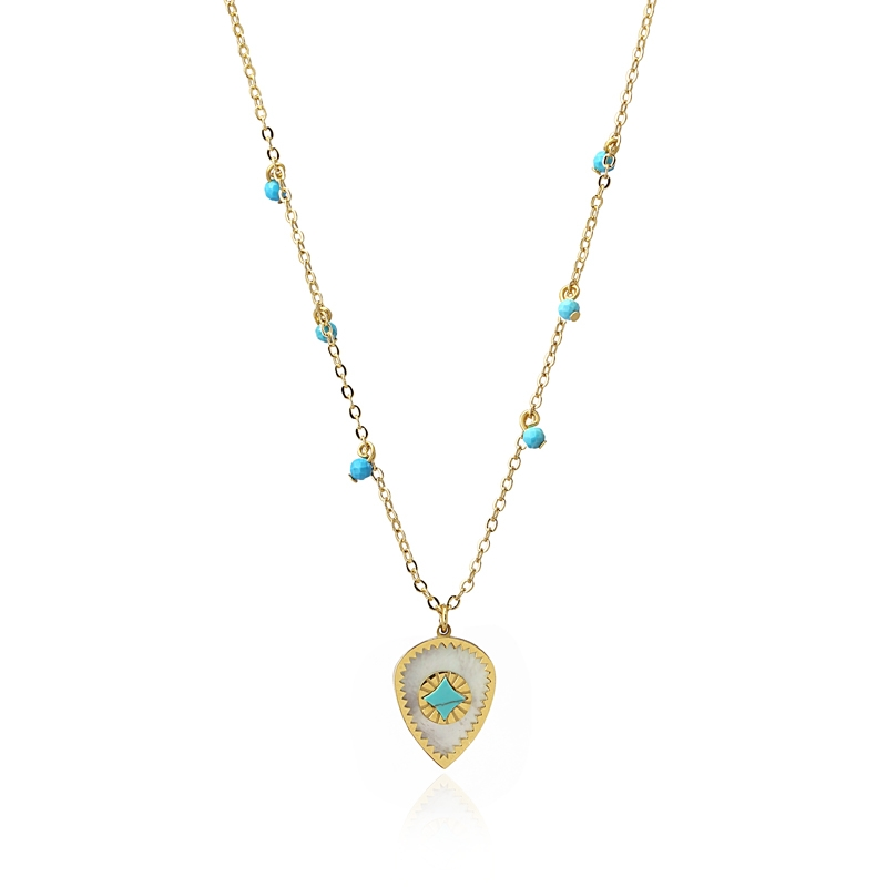 Collier avec pendentif nacre et turquoise