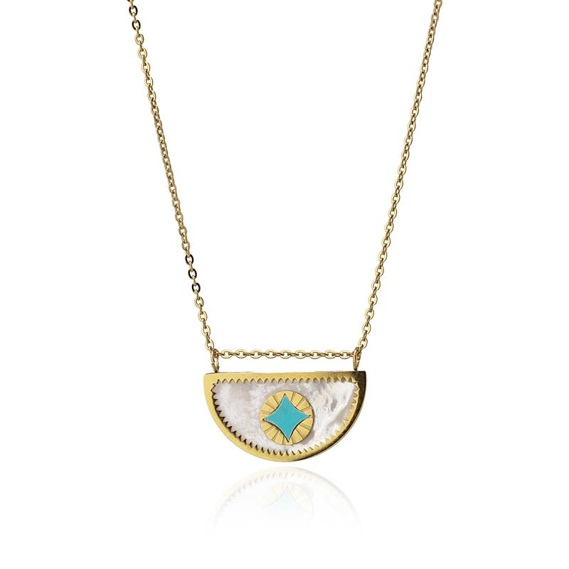 Collier pendentif nacre et turquoise
