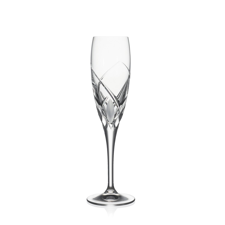 2 Flûtes à Champagne en cristal taillé Grosseta