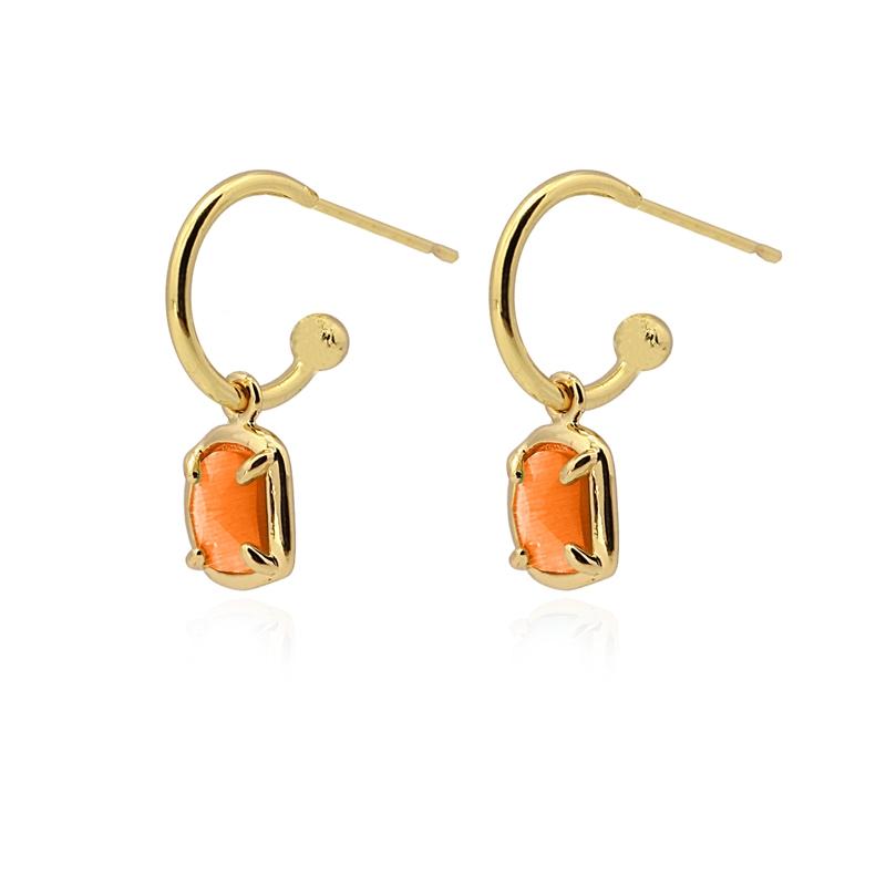 Boucles d\'oreilles avec pierre œil de chat orange