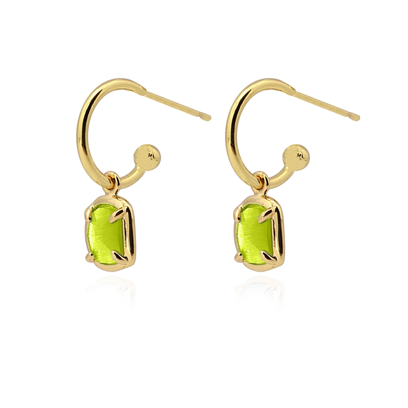 Boucles d\'oreilles avec pierre œil de chat vert