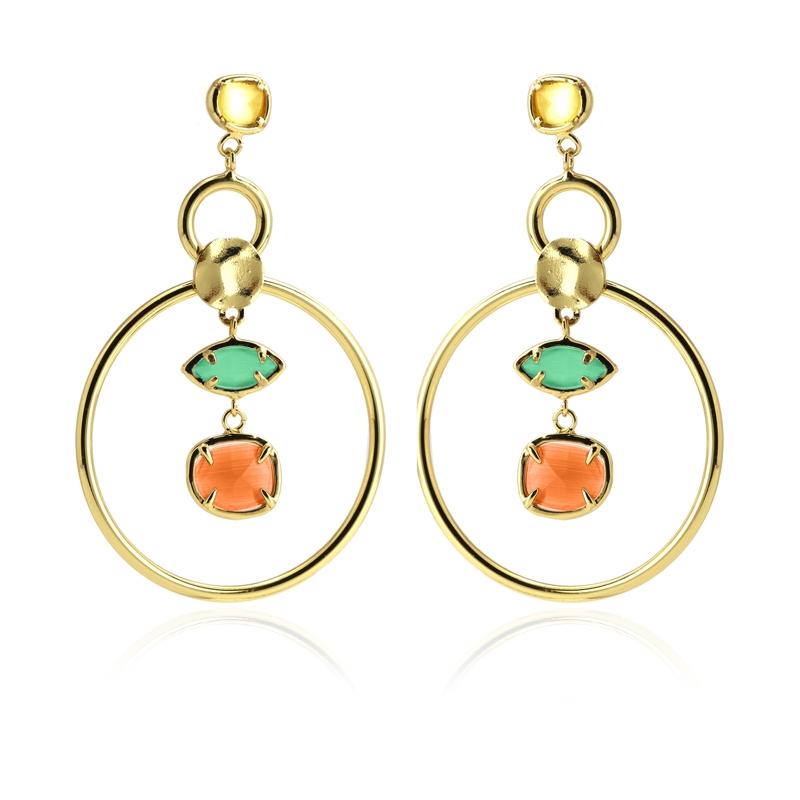 Boucles d\'oreilles avec pierres œil de chat beige/vert/orange