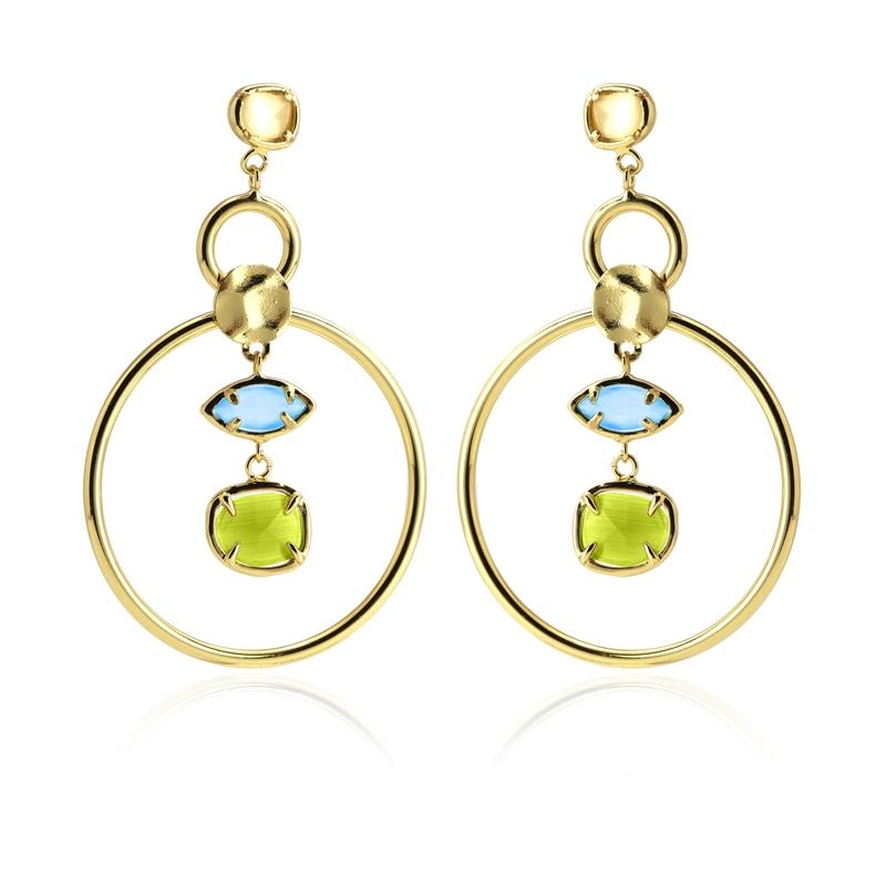 Boucles d'oreilles créoles avec pierres œil de chat jaune/bleu/vert