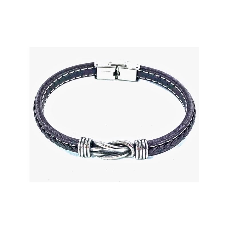 Bracelet Acier Cuir Entrelace
