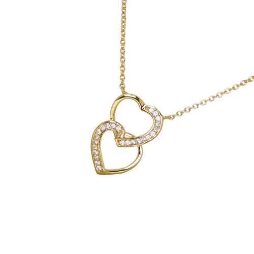 COLLIER PLAQUE OR DOUBLE COEUR SUPERPOSE OXYDES BLANCS