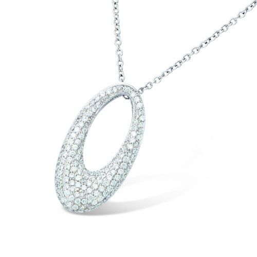COLLIER ARGENT RHODIE OVAL PAVE OXYDE BLANCS
