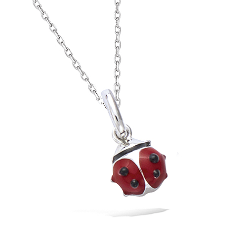 PENDENTIF ARGENT RHODIE COCCINELLE EMAIL ROUGE