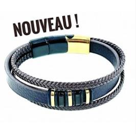 Bracelet Acier Doré Triple Cuir Noir Réglable