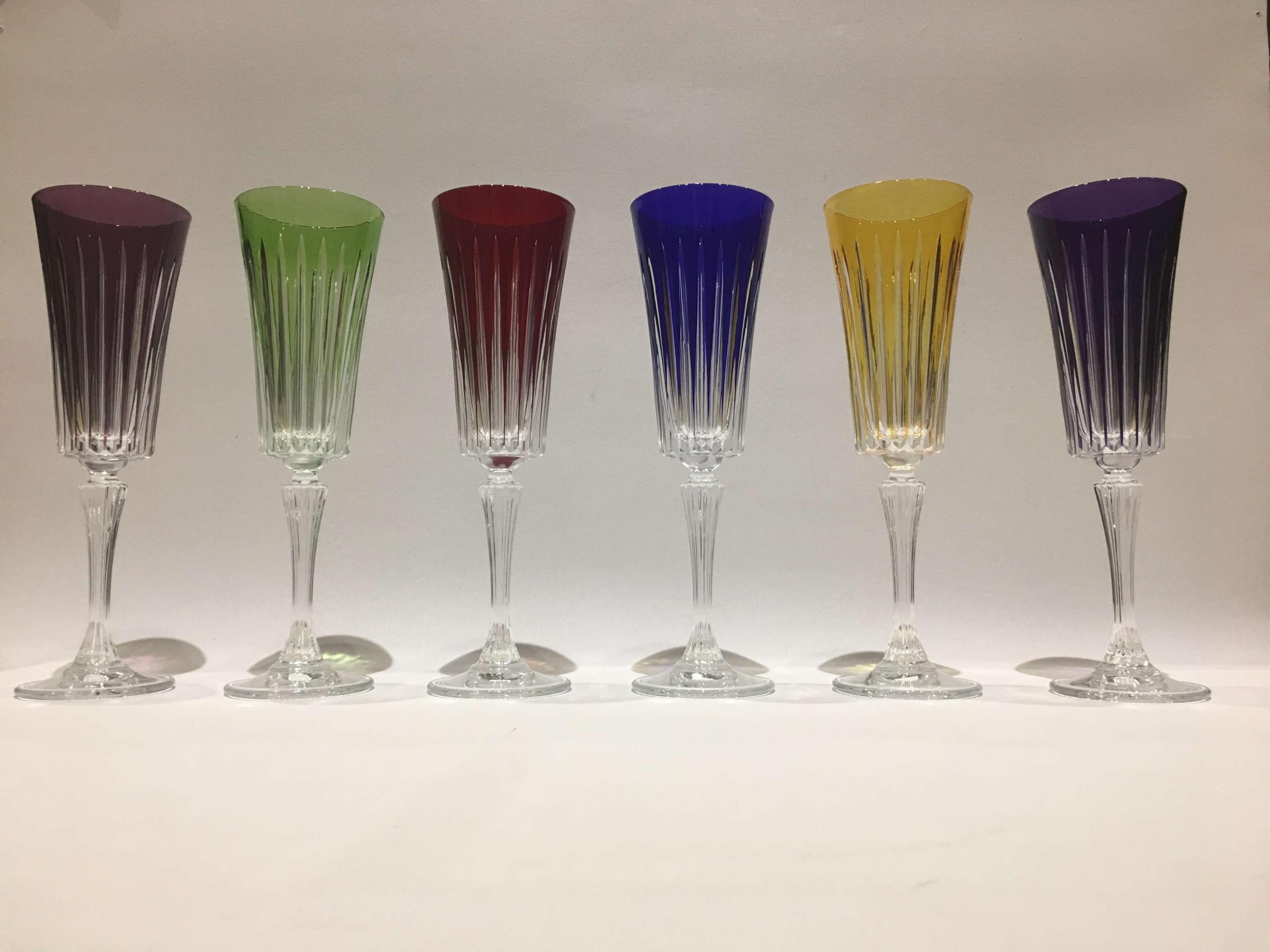 6 Flûtes à Champagne en Cristal Valbonne