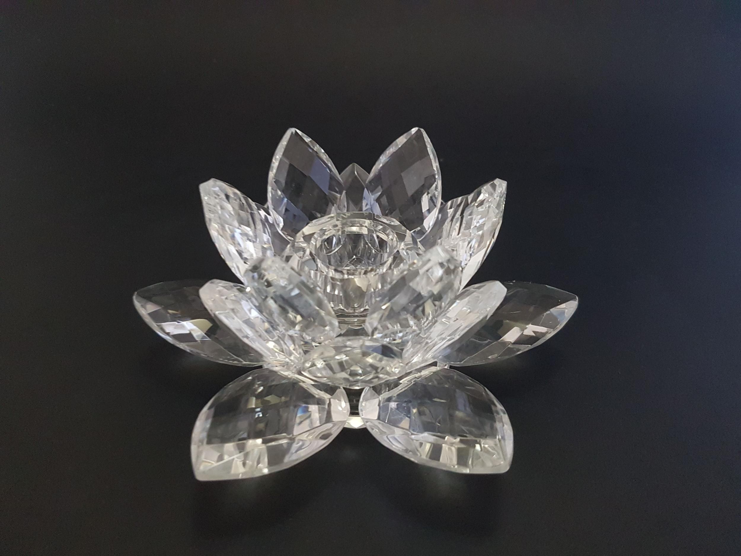 Bougeoir en Cristal Lotus