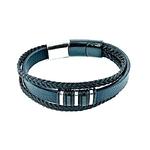 bracelet-acier-doré-et-blanc-triple-cuir-réglable-